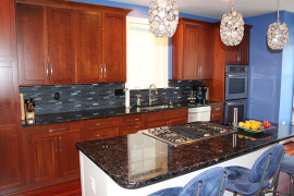 Sparkly Blue Kitchen Backsplash